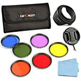 K&F Concept 52mm 6pcs Full Color Filter Set Lens Accessory Filter Kit Orange Blue Yellow Red Purple Green for Canon 7D 60D 70D 500D for Nikon D5300 D5200 D5100 D3300 D3200 D3100 DSLR Cameras + Lens Hood + Center Pinch Lens Cap + Microfiber Lens Cleaning