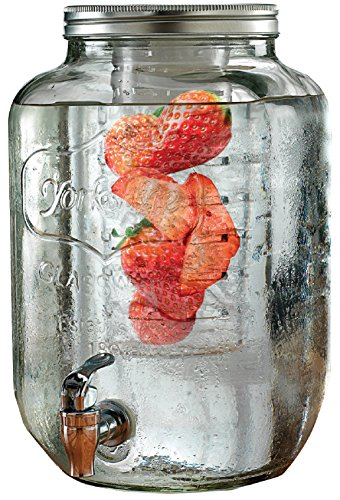 Circleware Yorkshire Glass Beverage Drink Dispenser with Fruit Infuser and Metal Lid, 2 Gallon Capacity (Water Pitcher Glass 2 Gallon compare prices)