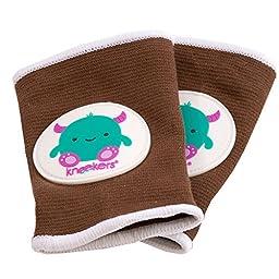Ah Goo Baby Kneekers Baby Knee Pads for Crawling, Unisex, Little Monster Toffee Pattern, For Lean Legs