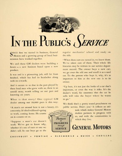 1941 Ad Gm General Motors Car Dealers Public Service - Original Print Ad