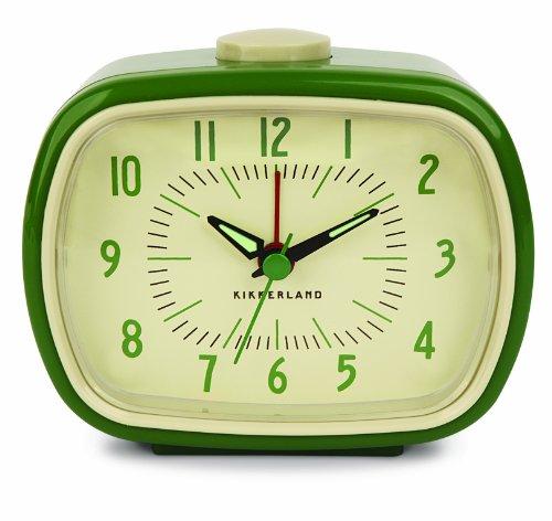 Kikkerland Retro Alarm Clock, Green