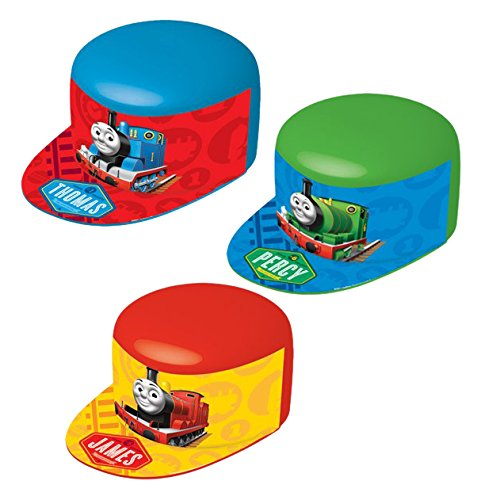 """Awesome Thomas The Tank Plastic VAC Form Birthday Party Hat, 10 x 4"""", Blue/Green/Red - 1"""