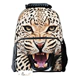 Ibeauti Unisex School Backpack, Large Capacity 3d Vivid Animal Face Print Polyester Backpack (Yellow Leopard)