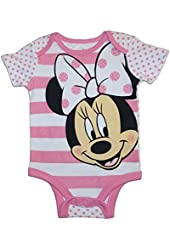 Disney Minnie Mouse Polka Dot Face Baby Girls Dress Up Bodysuit Outfit
