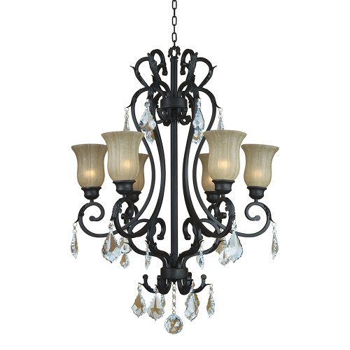 """Yosemite Home Decor 83136-6Ss Jessica Six Light Chandelier With Egyptian Crystals And Brown Cyan Glass In Sierra Slate Finish, 30"""" X 36"""" front-314368"""