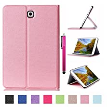 buy Galaxy Tab S2 9.7 Case, Jcmax High Grade Magnetic Smart Wallet Leather [Stand] Case With Sleep/Wake Feature [Anti-Scratch] For Samsung Galaxy Tab S2 9.7 (Sm-T815) Tablet + One Stylus Pen -Pink