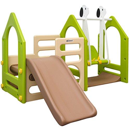 Casa de Juegos eyepower para niños y niñas | con Tobogán + Columpio + Paneles de Escalada | para interiores y exteriores