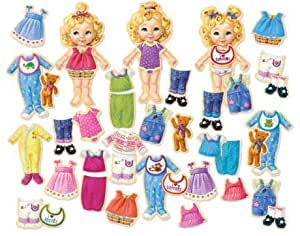 Teeny Tiny Triplets Magnetic Wooden Dress Up Dolls Set w/ Carrying Bag