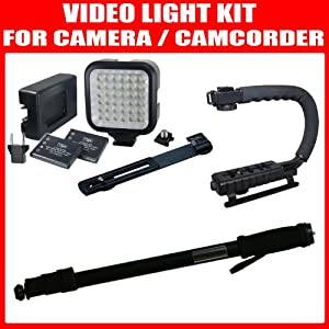 "Essential Camcorder Accessory Kit For Sony HDR-PJ580, HDR-PJ10, HDR-PJ30V, HDR-PJ50V, HDR-PJ10E, HDR-PJ30E, HDR-PJ30VE, HDR-PJ30V Camcorder Includes Deluxe Bracket Camcorder Action Stabilizing Handle + 36 Array LED Video Light Kit with Support Bracket + 2 Li-Ion Batteries and Charger + 67"" Light Weight Monopod"
