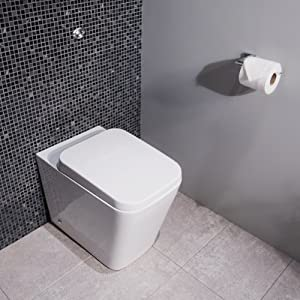 Modern BTW Toilet Pan With Seat Compact Space Saving Soft Close Back To Wal