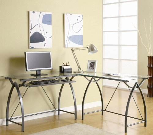Buy Low Price Comfortable L-Shape Computer Desk with Glass Top in Gunmetal Finish (B0057POEKA)
