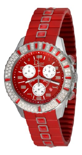 Christian Dior Women's CD11431BR001 Christal Chronograph Diamond Red Dial Watch