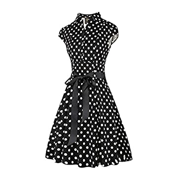 Elf Queen Women's Vintage Polka Dot Cocktail 1950s Tea Party Dress