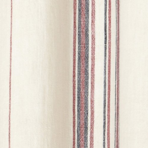 Coyuchi Rustic Linen Shower Curtain Natural With Red Indigo