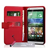 Yousave Accessories PU Leather Wallet Cover with Mini Stylus Pen for HTC Desire 816 - Red