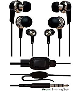 3.5mm In EarBud Stereo Earphones Headset Headphone Handsfree with Mic Compatible For Huawei Honor 4C - BlackCross