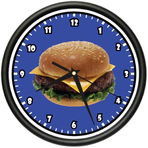 Burger Wall Clock Diner Restaurant Hamburger Chee