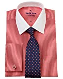 Savile Row Men's Red White Bengal Classic Fit Shirt 16 1/2