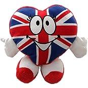 Union Jack Heart Shaped Novelty Plush Desk Accessory/ Toy