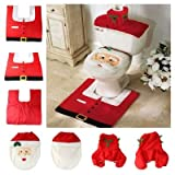 New XMAS Santa Toilet Seat Cover + Contour Rug Bathroom Bath Mat + Tank Cover with Tissue Box Cover Set Christmas Decorations