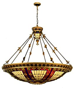 Meyda Tiffany 98985 Fleur-De-Lis Collection 10-Light Inverted Pendant, Mahogany Bronze and Antique Gold Finish with Jeweled Stained Glass Shade