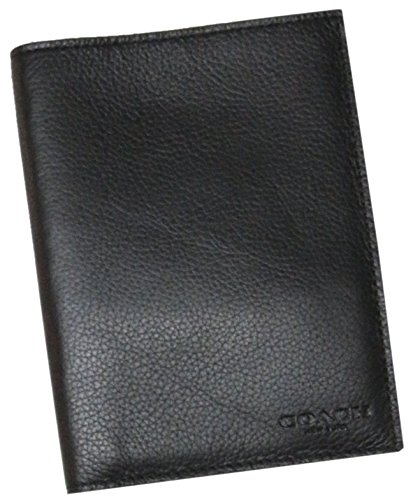Men`s Coach Leather Passport Case Wallet Black
