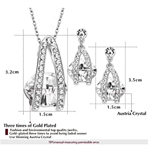 Yoursfs 18k White Gold Plated Shinning Cubic Zirconia CZ Bridal Jewerly Earring and Necklace Set