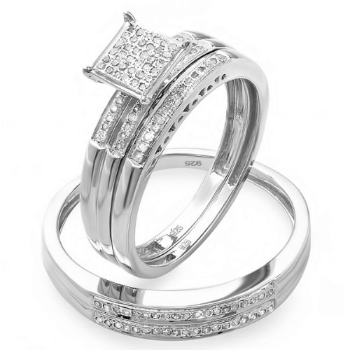 0.30 Carat (ctw) Sterling Silver Round White Diamond Men & Women's Micro Pave Engagement Ring Trio Bridal Set