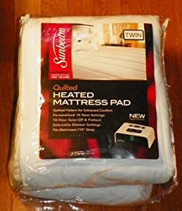Sunbeam Quilted Heated Mattress Pad, Twin
