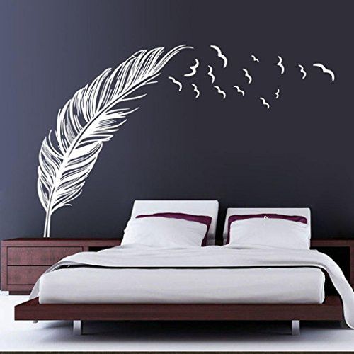 Hatop New Wall Sticker Birds Feather Bedroom Home Decal Mural Art Decor (White ) (Wall Decals White compare prices)