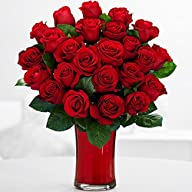 Two Dozen Red Roses (with FREE glass…