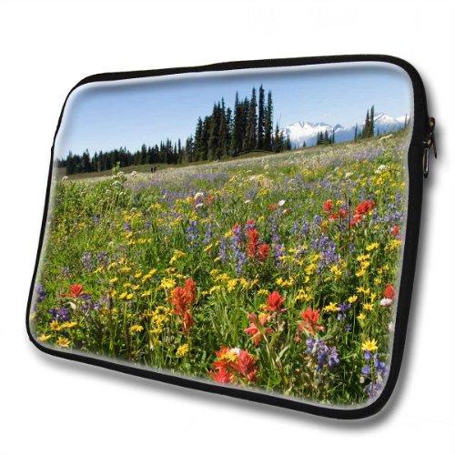 Landschaften 10044, Blumenfeld, Wasserfest Neopren Weich Zip Gehäuse Computer Sleeve Laptop Tasche Schutzhülle mit Reißverschluss und bunte Design für 14