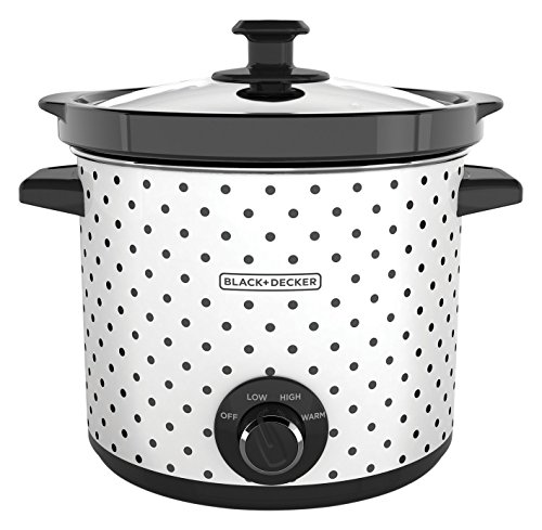 BLACK+DECKER SC1004D 4 Quart Dial Control Slow Cooker with Built in Lid Holder, Polka-Dot Black/White
