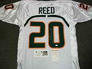 Ed Reed Signed Jersey - Miami Hurricanes White JSA Witness COA - Autographed College... by Sports+Memorabilia