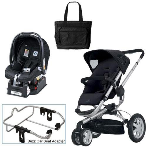 Quinny Rocking Black Buzz 3 Travel System with Peg Perego Nero Black Car Seat Diaper Bag