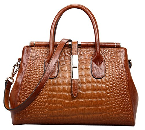 Heshe 2015 New Office Lady Leather Luxury Fashion Crocodile Tote Top Handle Crossbody Shoulder Satchel Purse Handbag for Women