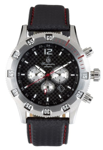 Burgmeister San Marino BM138192 Herren Automatik Uhr schwarzes Zifferblatt drehbare Lünette Datum/Tag/Monat/24h schwarzrotes Lederarmband