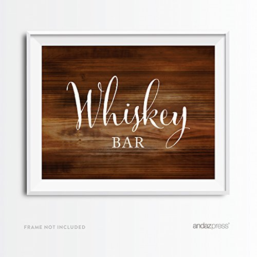Andaz Press Wedding Party Signs, Rustic Wood Print, 8.5x11-inch, Whiskey Bar Reception Dessert Table Sign, 1-Pack