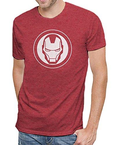 Marvel Comics Avengers Iron Man Logo Men's Soft Red Heather T-shirt L