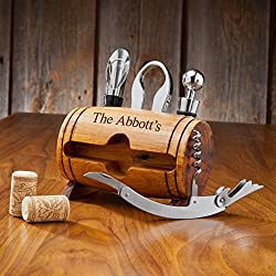 Engraved Wine Barrel Accessory Kit