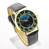 [Geneva]モダンなデザイン 夜空が綺麗な星座の時計盤 ムーンナイト ブラック [並行輸入品]