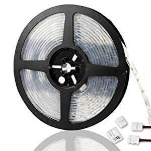 16 ft X 3/8 inch (5m x 10mm) 6000K Cool White 3528 300-SMD LED Flexible Waterproof Strip Rope Light Kit With DIY 4 connectors For Car Truck SUV Trunk Hood Dashboard Glovebox Window Roof Door Rail Trim Underseat Interior Decoration Lighting