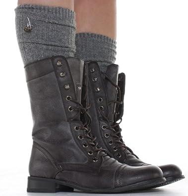 shoefashionista  Bottes à lacets Femme Militaire Noir Vintage