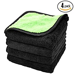 (4-Pack) 840gsm SUPER THICK & PLUSH Chameleon 840 16 in. x 16 in. Professional Microfiber Waterless / Rinseless Wash and Buffing Detailing Towels - THE RAG COMPANY (Lime Green / Black)