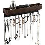 Jack Cube Hanging Jewelry Organizer Necklace Hanger Bracelet Holder Wall Mount Necklace Organizer with 25 Hooks(Brown/16.38 x 4.88 x 2.93 inches) - :MK124A (Color: Type1 (Brown), Tamaño: 4.88