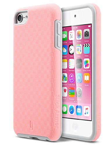 ULAK iPod Touch 6 Case,iPod Touch 5 Case,[SLICK ARMOR] Slim-Protection Hybrid Case Hard Cover  - Retail Packaging - Baby Pink+Grey (Ipod Touch 5 Bumper Case compare prices)