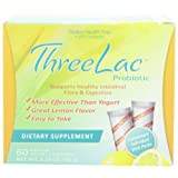 Threelac Probiotic Dietary Supplement, Natural Lemon Flavor, Includes 60 .053-Ounce Packets ~ GHT Global Health Trax...