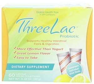 Threelac Probiotic Dietary Supplement, Natural Lemon Flavor
