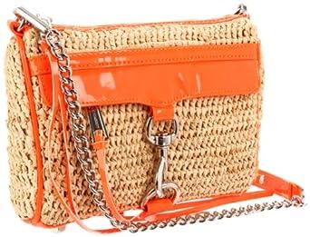Rebecca Minkoff Mini Mac Straw Clutch,Neon Orange,One Size