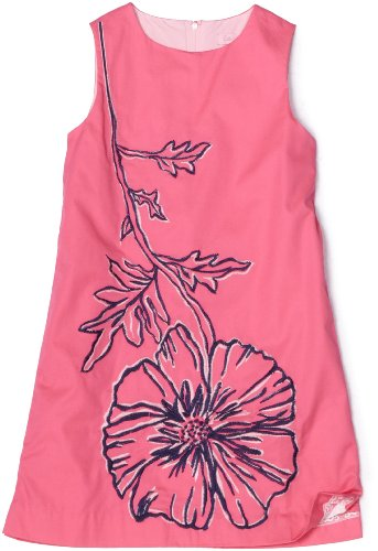 Lilly Pulitzer Girls 2-6x Little Poppy Razzie Embroidered Shift Dress
